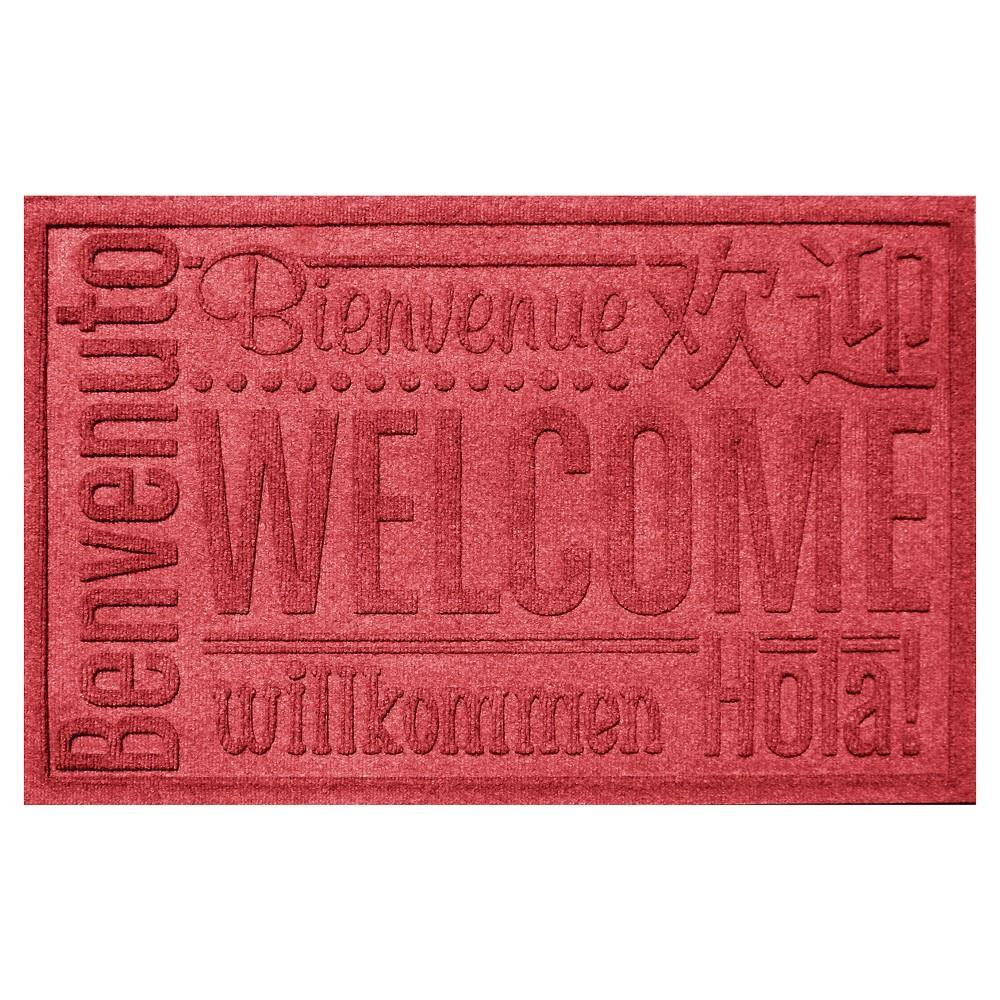 Solid Red Typography Pressed Doormat - (2'X3') - Bungalow Flooring