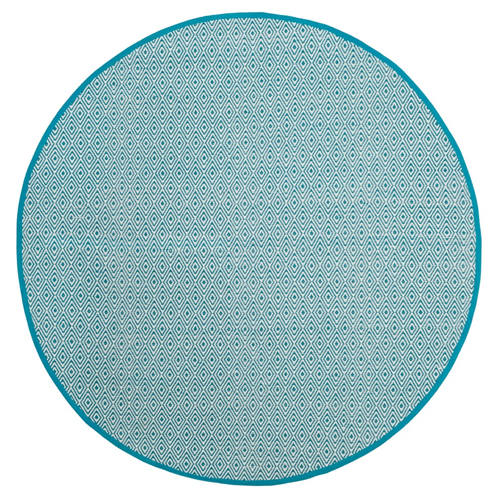 Ivory/Turquoise Stripe Flatweave Woven Round Accent Rug - (4' Round) - Safavieh