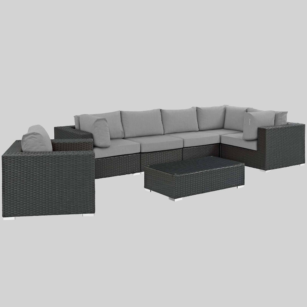Sojourn 7pc Outdoor Patio Sectional Set with Sunbrella Fabric - Gray - Modway