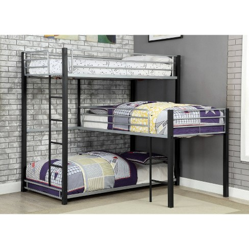 Maribor 3 Tier Metal Bunkbed In L - Shape Twin Soot Black - HOMES: Inside +Out - image 1 of 4