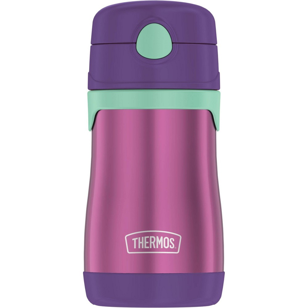 Thermos 10oz Stainless Steel Straw Bottle Purple Straws aren't just fun for kids, they're also functional. This Thermos kids water bottle with pop-up straw is for youngsters who still need a little help to keep their drinks from spilling when the lid is closed. The stainless steel bottle is easy for small hands to open and hold, so they can do it all by themselves. The Thermos™ vacuum insulation technology keeps drinks cold for up to 12 hours, helping to resist bacteria growth. By the way, the reusable straws can be easily removed, swapped, and replaced. You can pop the bottle and removable straw parts in the top rack of your dishwasher, but washing by hand is rmended. Not for use with hot liquids. Gender: unisex.
