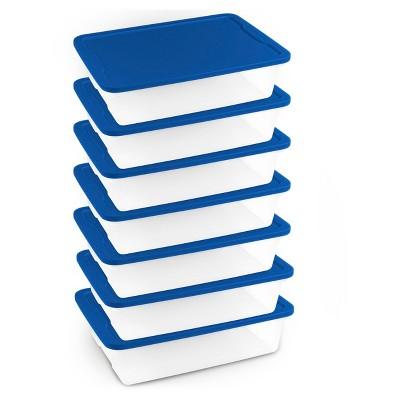 Homz® 28qt Storage Totes, Set of 8, Clear/Blue