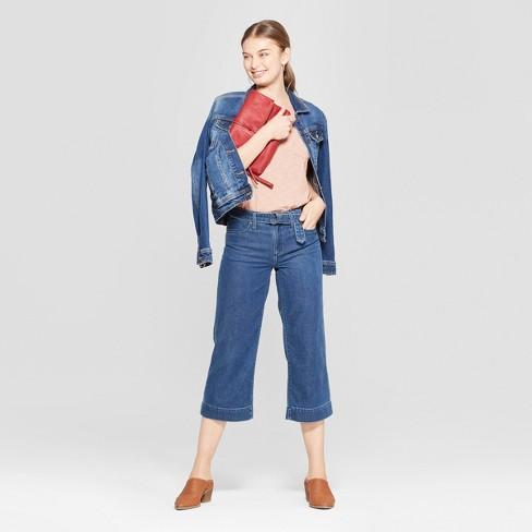 528df5fb44 Women's High-Rise Side Belted Wide Leg Crop Jeans - Universal Thread™  Medium Wash