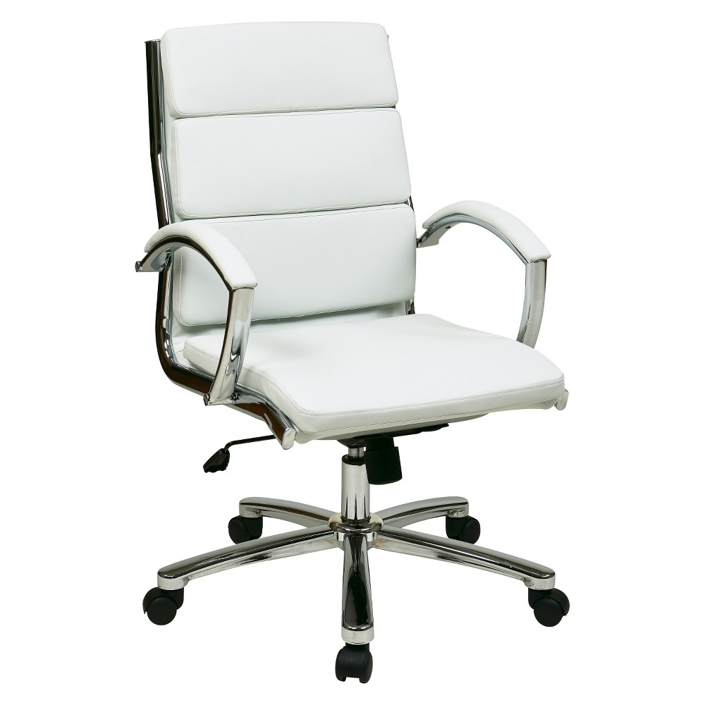 Image of Mid Back Executive Faux Leather - White