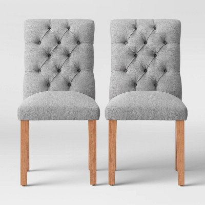 2pc Brookline Tufted Dining Chair Gray Textured - Threshold™