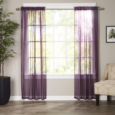 """Elegant Comfort Set of 2 Window Curtains Sheer Panel with 2"""" Rod Pocket 60""""w X 84inch."""
