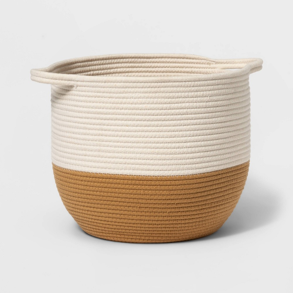 Coiled Rope Storage Bin With Color Band Cloud Island 8482 Tan White L