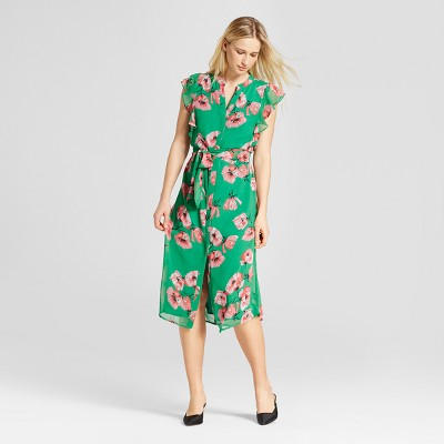 Ruffle Sleeve Midi Dress