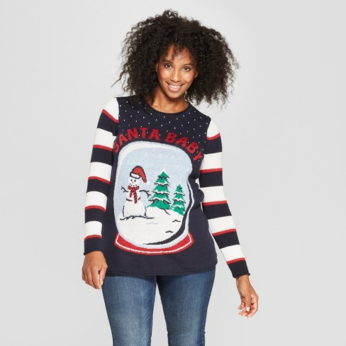 maternity santa baby sweater ugly christmas sweater navy - Maternity Christmas Sweater