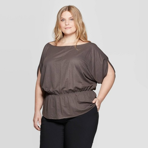 Women's Plus Size Batwing Sleeve Boat Neck Top - Prologue™ - image 1 of 3