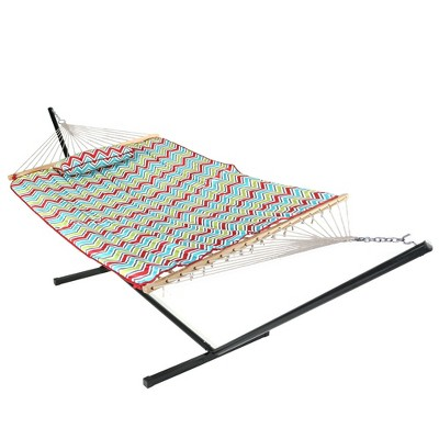 Rope Hammock with Quilted Pad/Pillow and Stand - Red/Green/Blue Chevron Stripe - Sunnydaze Decor