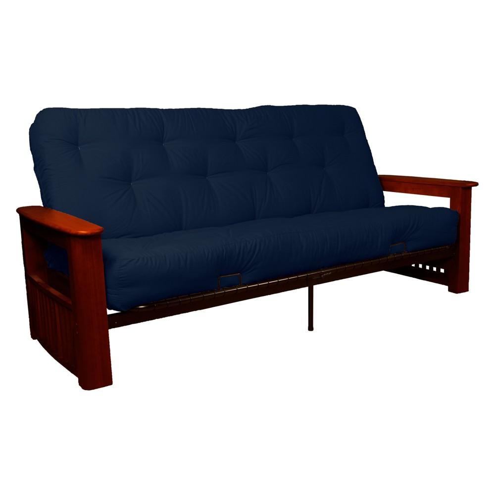 Flip Top Arm 8 Cotton/Foam Futon Sofa Sleeper Mahogany Wood Finish Navy (Blue) - Epic Furnishings