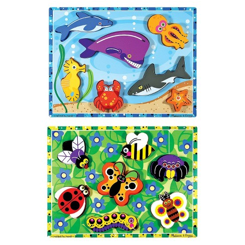 Melissa Doug Sea Life And Insects Wooden Chunky Puzzle Bundle 2pc