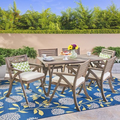Hermosa 7pc Acacia Dining Set - Gray - Christopher Knight Home