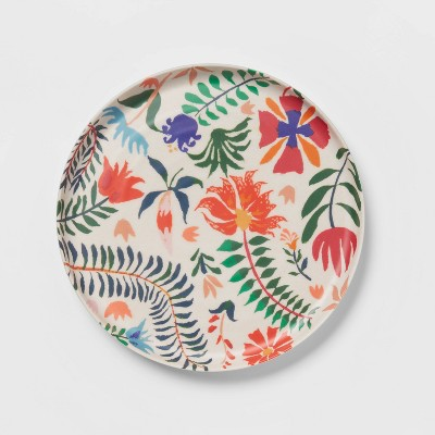 """8"""" Melamine and Bamboo Floral Salad Plate - Opalhouse™"""