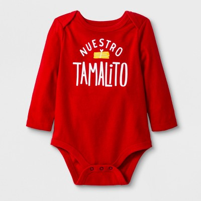 Baby Boys' Long Sleeve Lap Shoulder Nuestro Tamalito Bodysuit - Cat & Jack™ Red 0-3M