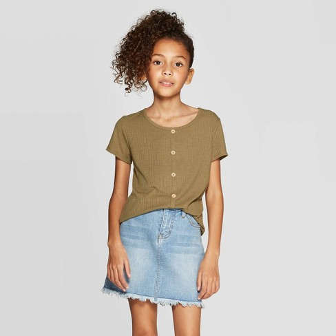 Girls' Rib Button Front T-Shirt - art class™ Olive - image 1 of 3