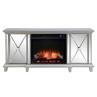 Tappington Mirrored Touch Panel Fireplace Media Console Silver - Aiden Lane