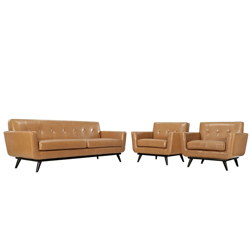Engage 3pc Leather Living Room Set Tan - Modway