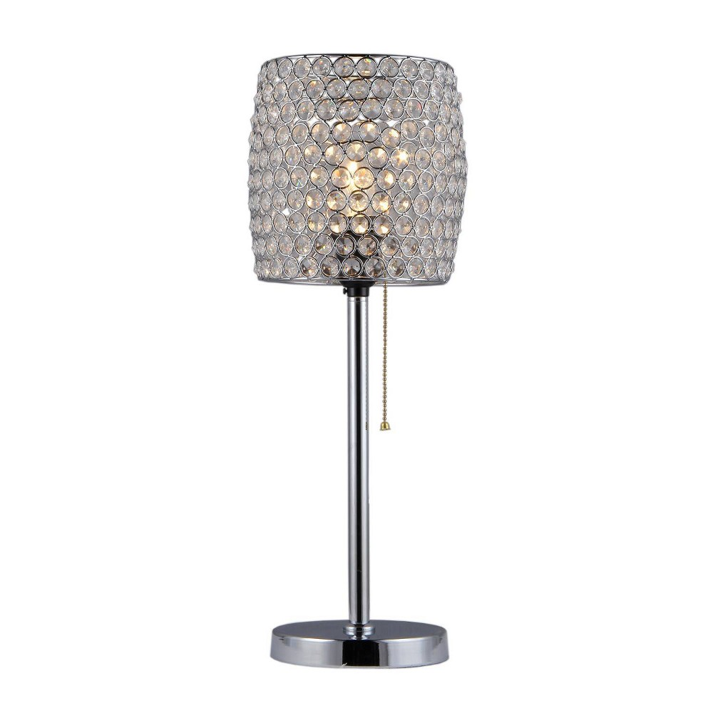 """Image of """"8"""""""" x 8"""""""" x 20"""""""" Cleopatra 1 Light Crystal Table Lamp Silver - Warehouse of Tiffany"""""""