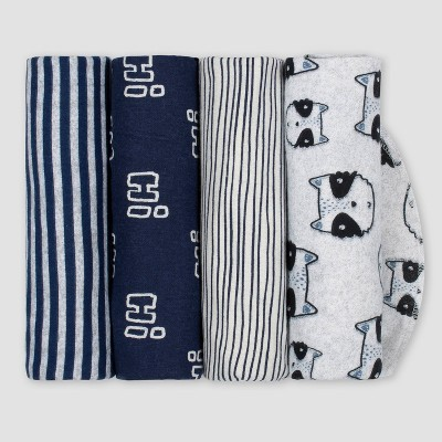 Gerber Baby Boys' 4pk Raccoon Flannel Receiving Blankets - Blue/Gray