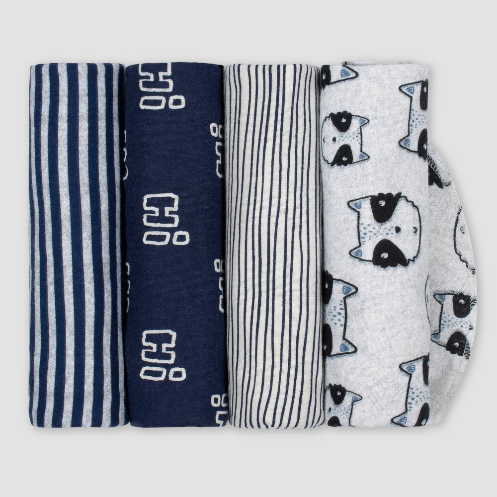 Image of Gerber Baby Boys' 4pk Raccoon Flannel Receiving Blankets - Blue/Gray
