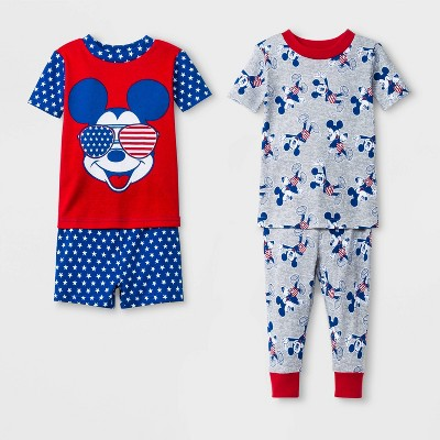 Toddler Boys' Mickey Mouse and Friends 4pc Pajama Set - Gray/Red/Blue 2T