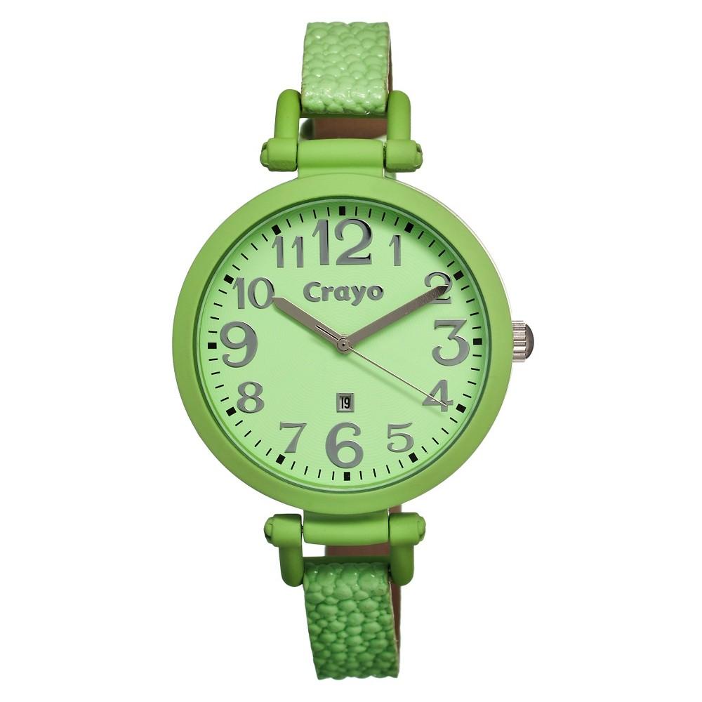 Crayo Balloon Women's Python - Embossed Leather Strap Watch - Green, Pastel Green