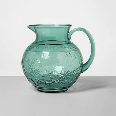 3qt Plastic Floral Embossed Beverage Pitcher Green - Opalhouse™