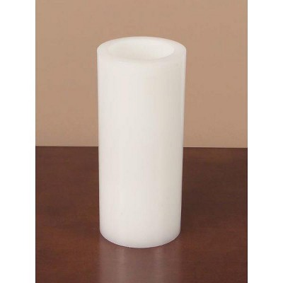 "Melrose 9"" Round White Battery-Operated Flameless LED Wax Pillar Candle"