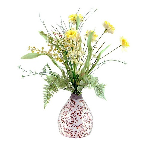 "Artificial Mixed Floral Arrangement Yellow/White 16"" - LCG Florals - image 1 of 1"