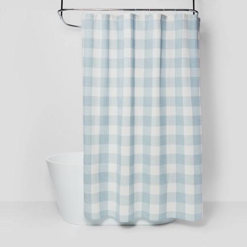 Gingham Checkered Shower Curtain Borage Blue - Threshold™ - image 1 of 4