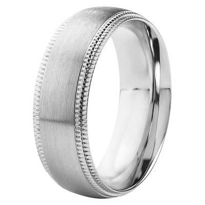 Men's Crucible Stainless Steel Brushed Finish with Milgrain Edge Ring