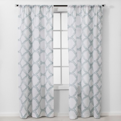 "Set of 2 84""x40"" Geometric Light Filtering Window Curtain Panels White/Blue - Threshold™"