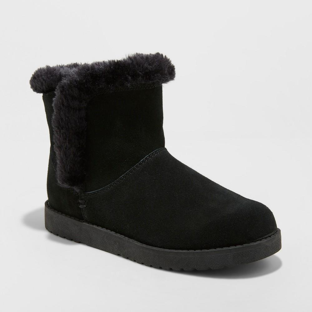 Women's Bellina Wide Width Suede Short Winter Boots - Universal Thread Black 8W, Size: 8 Wide