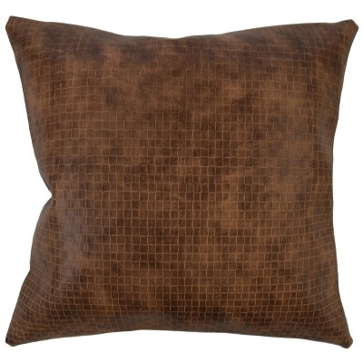 Brown Faux Leather Square Throw Pillow (18 x18 )- The Pillow Collection