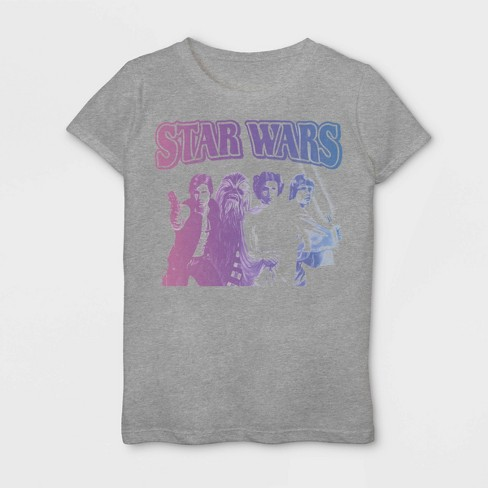 Girls' Star Wars Vintage Group Short Sleeve T-Shirt - Heather Gray - image 1 of 1