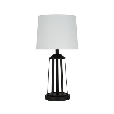 """20"""" Metal Open Cage Table Lamp with Linen Shade(Includes LED Light Bulb) Black - Cresswell Lighting"""