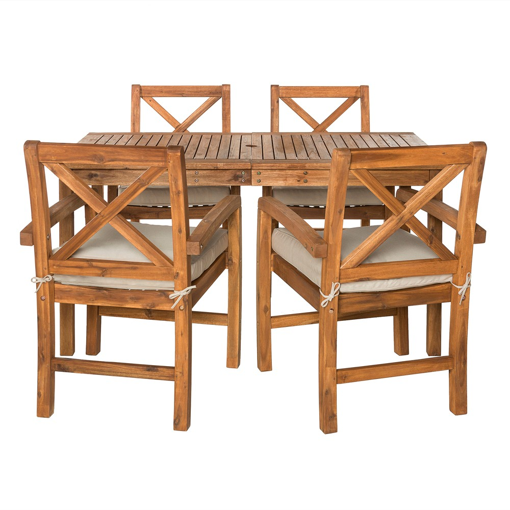 5pc Acacia Wood Simple Patio Dining Set with X-Shaped Back Brown - Saracina Home