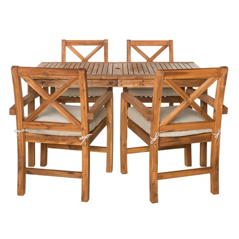 5pc Acacia Wood Simple Patio Dining Set with X-Shaped Back Brown - Saracina Home - image 1 of 3