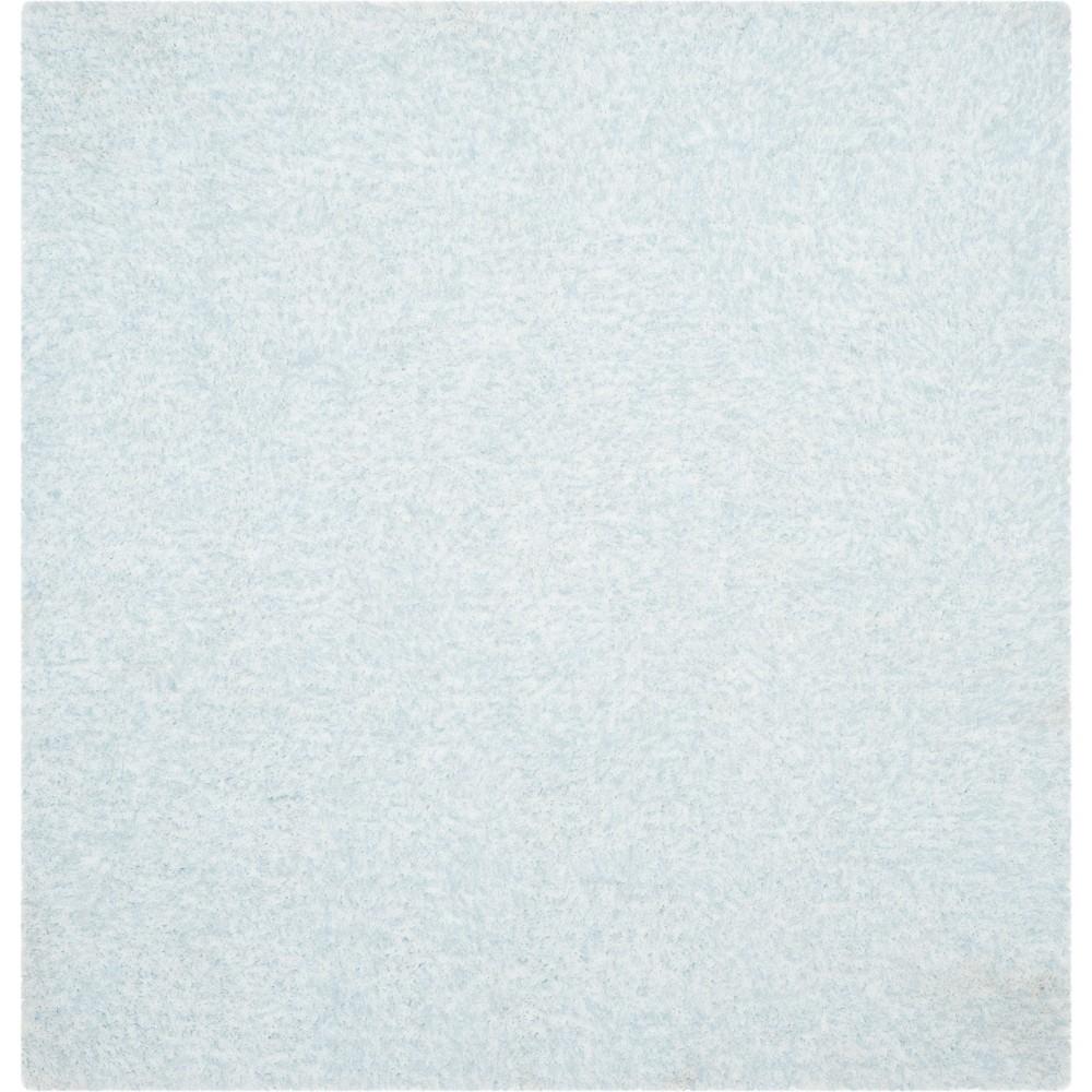 5'X5' Solid Tufted Square Area Rug Ivory/Aqua (Ivory/Blue) - Safavieh
