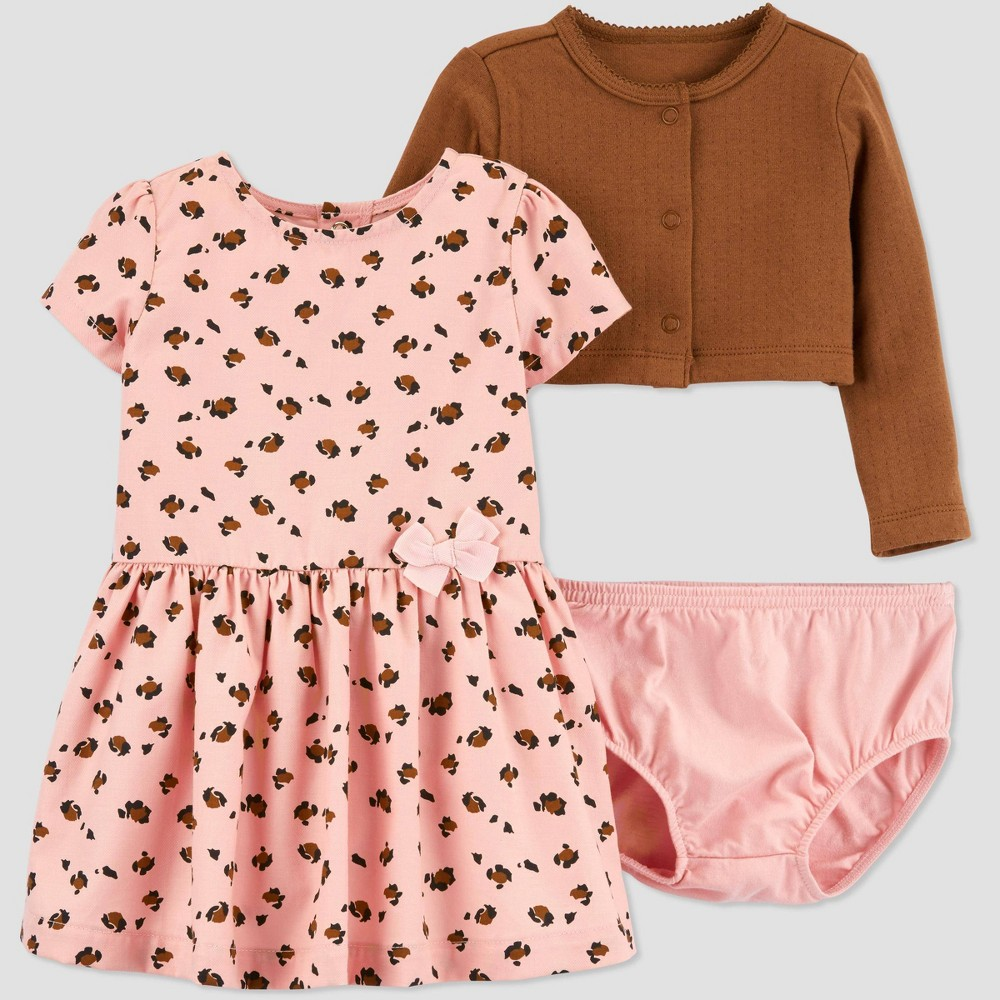 Image of Baby Girls' 2pc Cheetah Top & Bottom Sets - Just One You made by carter's Peach/Brown 24 M, Girl's, Size: 24M, Brown/Pink