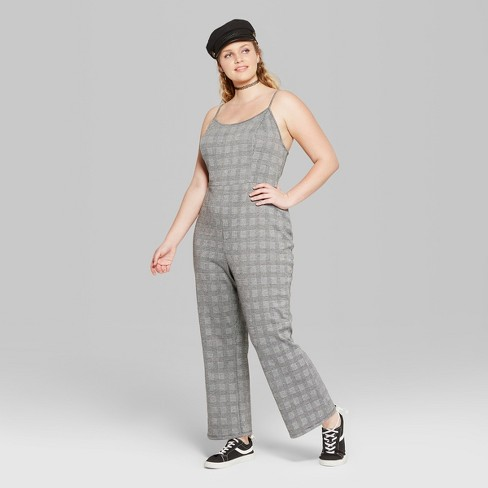 Womens Plus Size Plaid Strappy Jumpsuit Wild Fable Blackwhite 2x