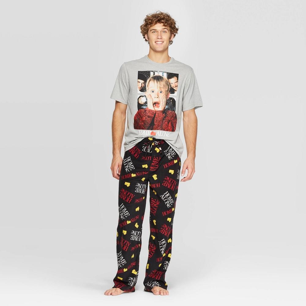 Image of Men's Home Alone Pajama Set - Athletic Heather L, Size: Large, Grey