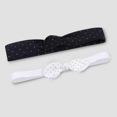 Baby Girls' 2pk Knot Headwrap - Just One You® made by carter's Black/White