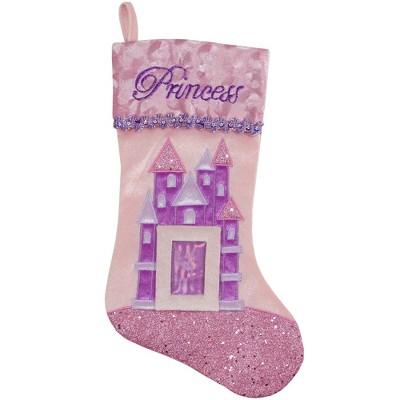 "Northlight 20"" Pink and Purple Glitter Princess Christmas Stocking"