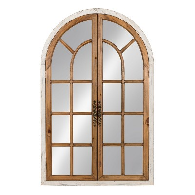 Kate & Laurel 28 x44  Boldmere Wood Windowpane Arch Decorative Wall Mirror Brown