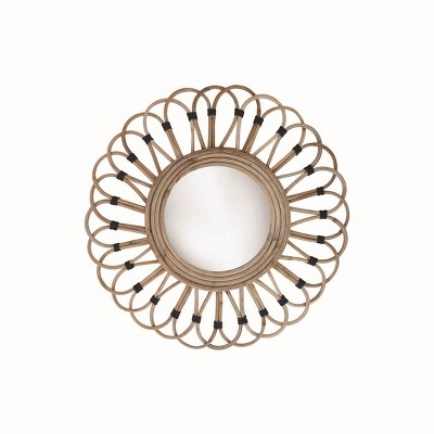 19 inch Diameter Round Wrapped Rattan Wall Mirror - Foreside Home & Garden
