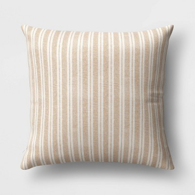 Oversized Striped Square Throw Pillow Brown/Cream - Threshold™
