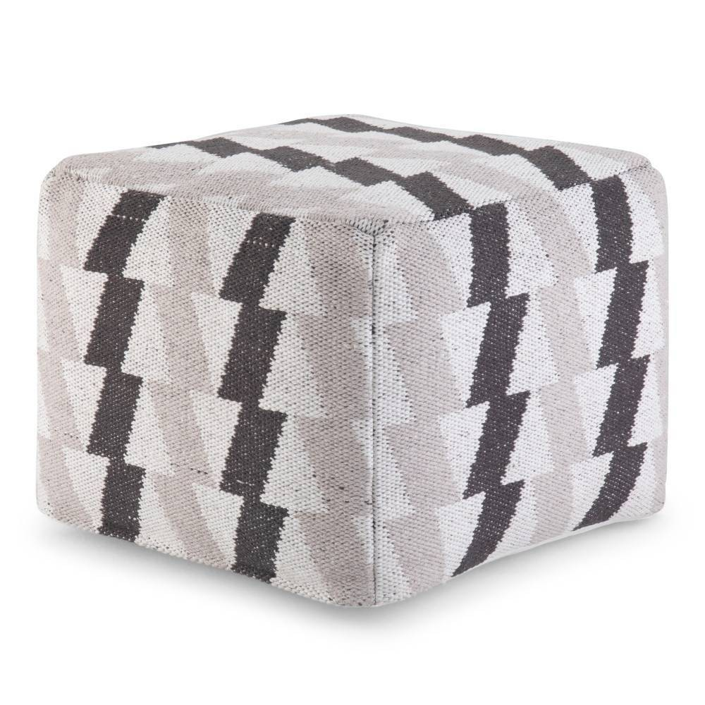 Image of Ludlow Transitional Square Pouf in Black/Gray/White - Wyndenhall